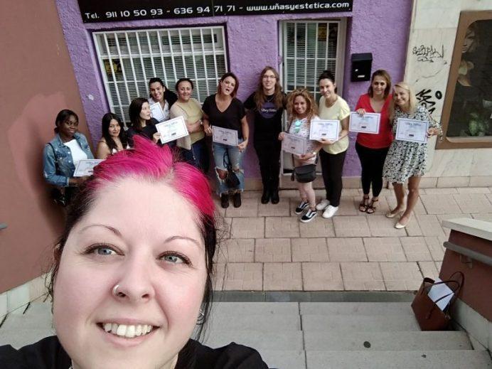 Foto de las alumnas del curso de Manicura Tradicional del día 09/07/18