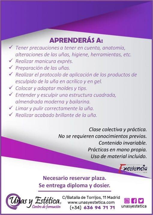 Información del curso de uñas de acrílico y gel en academia Uñas y Estética