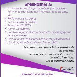 Información del curso de uñas stiletto en Academia Uñas y Estética
